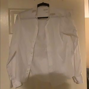 White Calvin Klein dress shirt.
